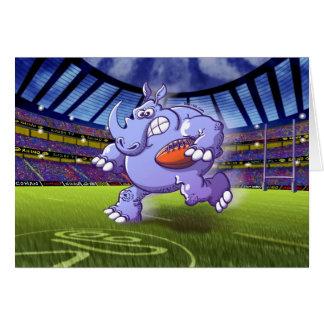 Rugby Rhinoceros Greeting Card