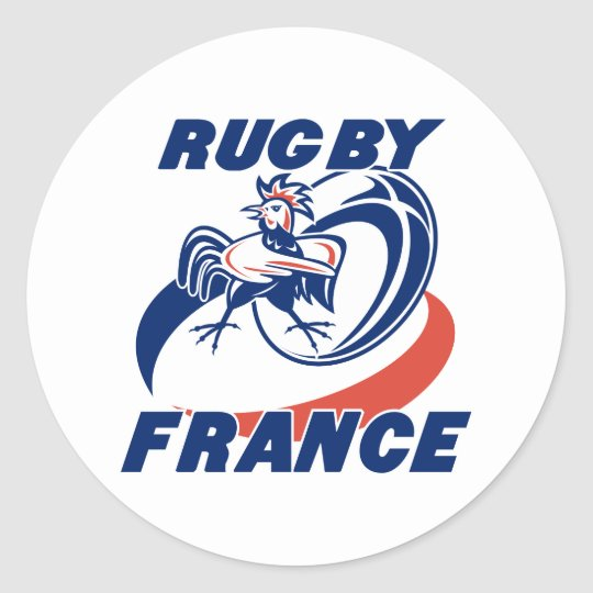 rugby rooster cockerel france classic round sticker