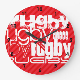 Rugby; Scarlet Red Stripes Large Clock