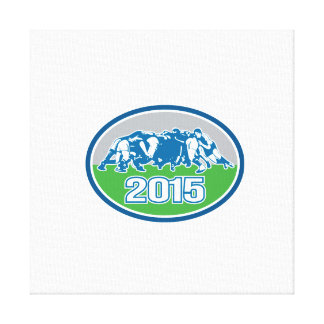 Rugby Scrum 2015 Oval Canvas Print