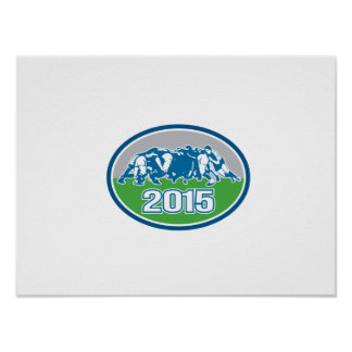 Rugby Scrum 2015 Oval Print