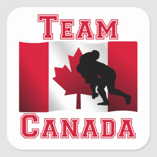 Rugby Tackle Canadian Flag Team Canada Square Sticker