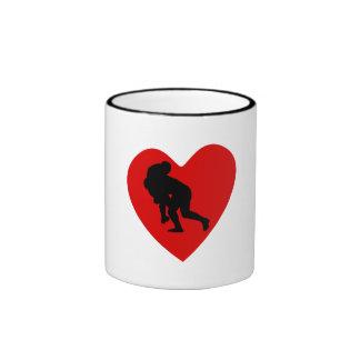 Rugby Tackle Heart Coffee Mugs