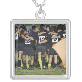 Rugby team standing in a circle silver plated necklace