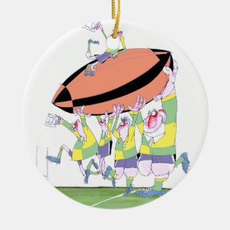 rugby teamwork, tony fernandes christmas ornament