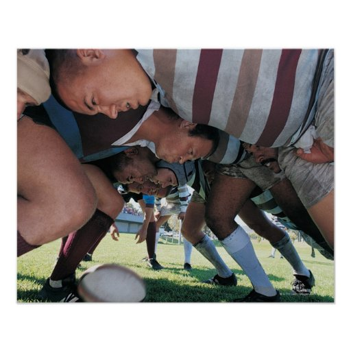 Rugby Union Players in a Scrum Poster