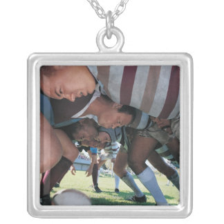 Rugby Union Players in a Scrum Silver Plated Necklace