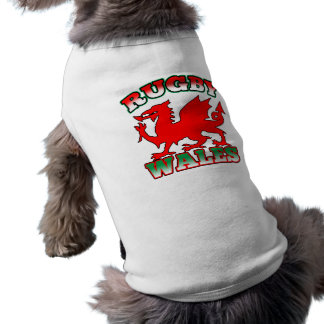 Rugby Wales Flag Dragon Sleeveless Dog Shirt