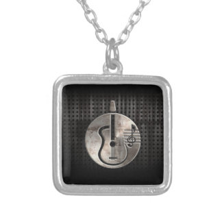 Rugged Acoustic Guitar Silver Plated Necklace