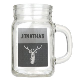 Rugged Buck Deer Hunting Modern Men Name Mason Jar