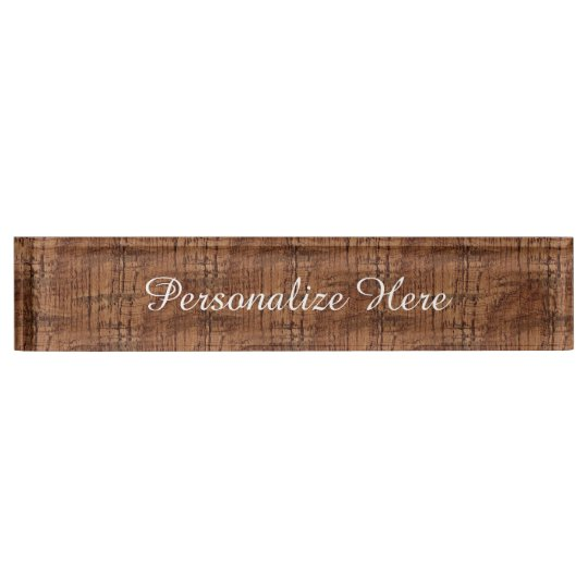 Rugged Chestnut Oak Wood Grain Look Name Plate