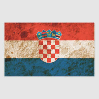 Rugged Croatian Flag Rectangular Sticker