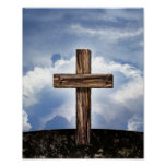 Rugged Cross with Sky Poster