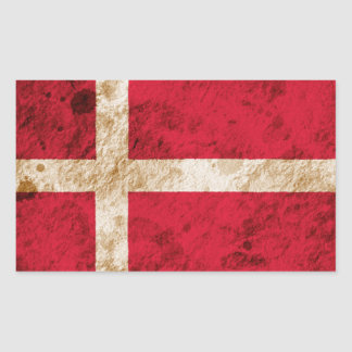 Rugged Danish Flag Rectangle Sticker