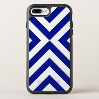 Rugged Geometric Blue and White Chevrons OtterBox Symmetry iPhone 7 Plus Case