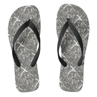 Rugged Gray-Abstract Geometric Pattern Flip Flops