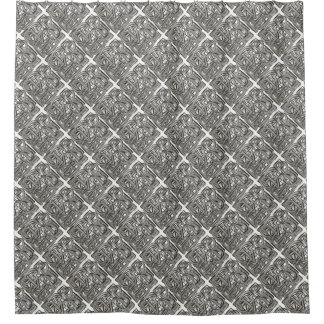 Rugged Gray-Abstract Geometric Pattern Shower Curtain