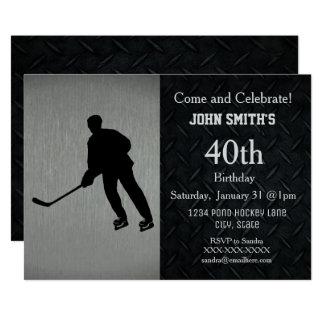 Rugged Hockey Birthday Celebration Invitations
