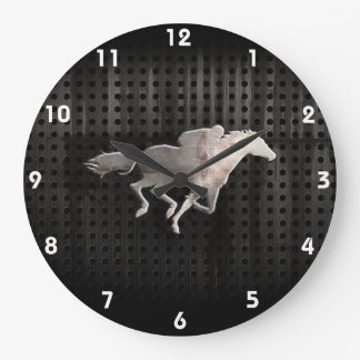 Rugged Horse Racing Large Clock