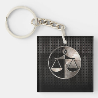 Rugged Justice Scales Square Acrylic Keychain