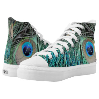 Rugged Peacock Feathers With Cool Blue High Tops