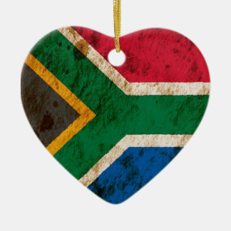 Rugged South African Flag Ceramic Heart Decoration
