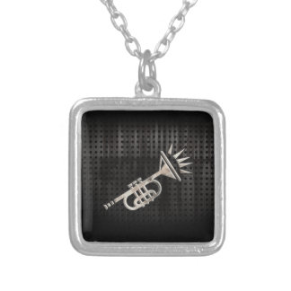 Rugged Trumpet Silver Plated Necklace