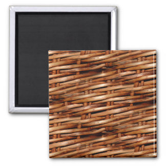 Rugged Wicker Basket Look Square Magnet