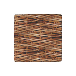 Rugged Wicker Basket Look Stone Magnet