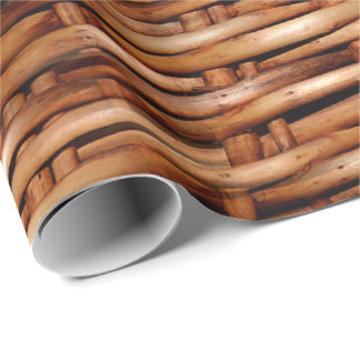 Rugged Wicker Basket Look Wrapping Paper