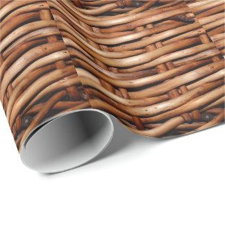 Rugged Wicker Basket Look Gift Wrap Paper