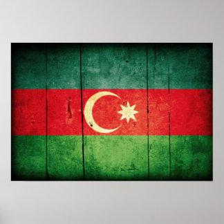 Rugged Wood Azerbaijan Flag Print