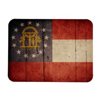 Rugged Wood Georgia Flag Magnets