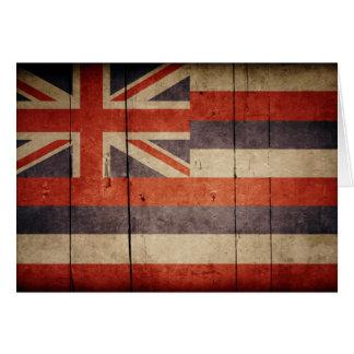 Rugged Wood Hawaii Flag Card