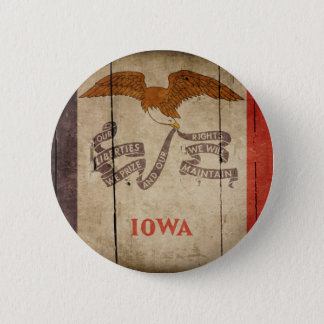 Rugged Wood Iowa Flag 6 Cm Round Badge