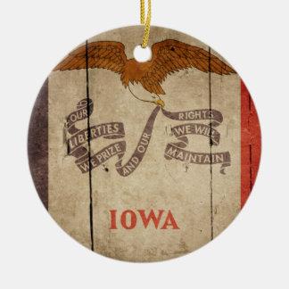 Rugged Wood Iowa Flag Christmas Ornament