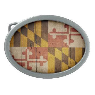 Rugged Wood Maryland Flag Oval Belt Buckles