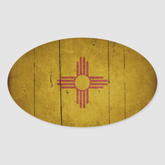 Rugged Wood New Mexico Flag Oval Sticker