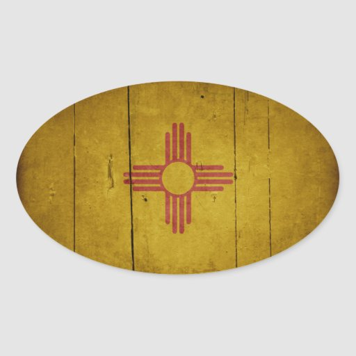 Rugged Wood New Mexico Flag Oval Stickers