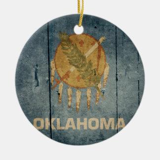 Rugged Wood Oklahoma Flag Christmas Ornament