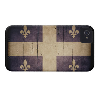 Rugged Wood Quebec Flag iPhone 4 Cases