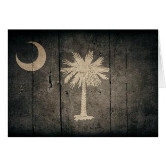 Rugged Wood South Carolina Flag Card