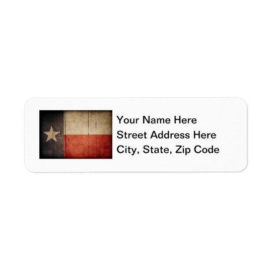 Rugged Wood Texas Flag Return Address Label