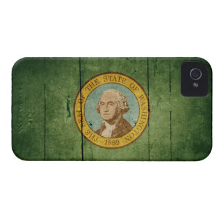 Rugged Wood Washington Flag iPhone 4 Cases