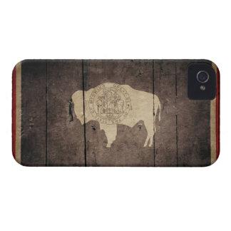 Rugged Wood Wyoming Flag iPhone 4 Case