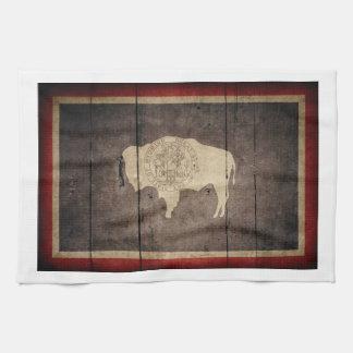 Rugged Wood Wyoming Flag Tea Towel