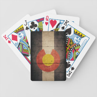 Rugged Wooden Colorado Flag Bicycle Playing Cards