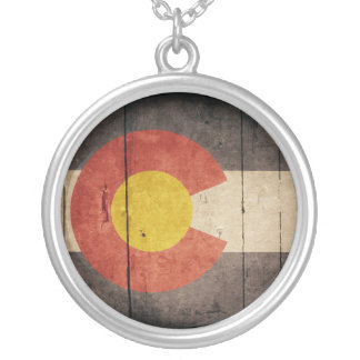 Rugged Wooden Colorado Flag Silver Plated Necklace