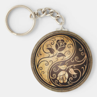 Rugged Yin Yang Roses Key Ring