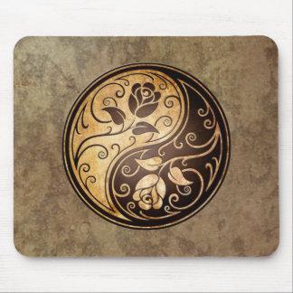 Rugged Yin Yang Roses Mouse Pad